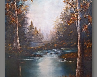 """Vintage """"Autumn in the Forest"""" by Deborah Terrock 1979 Original Oil Painting for R. Reagan Inauguration Day"""