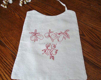 Bib Red Embroidery Vintage