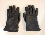 Luftwaffe Leather Gloves, Grey Leather Gloves, German Pilot's Lined Gloves, Size Men's Small
