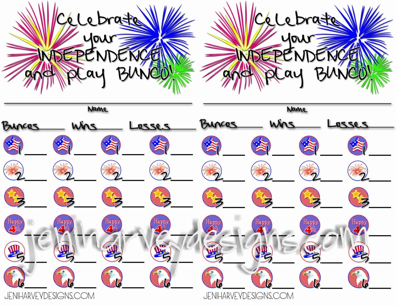 4th of July Bunco Score Sheet – Bunco Score Sheets Template