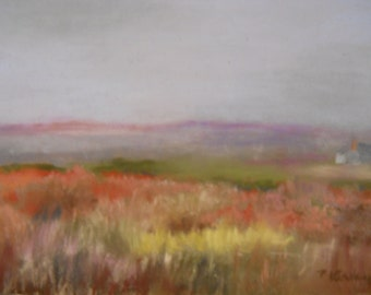 Lubec Cottage Meadow Original Pastel Painting