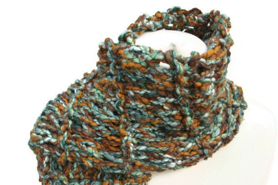 Ladies scarf hand knitted greens browns mix yarn
