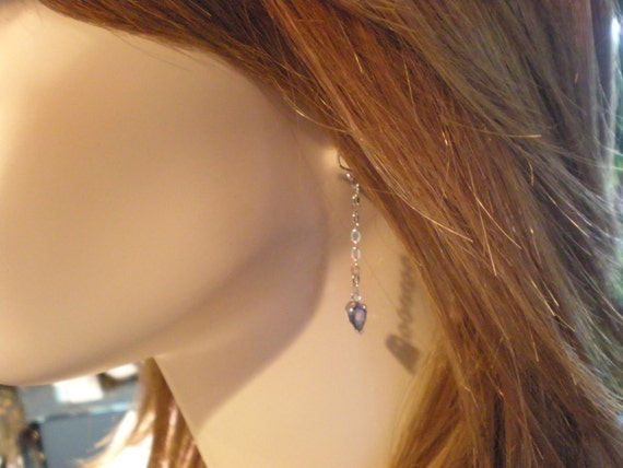 Pear cut tanzanite earrings matching chain and pendant in 14K white gold sassy cocktail party earrings!