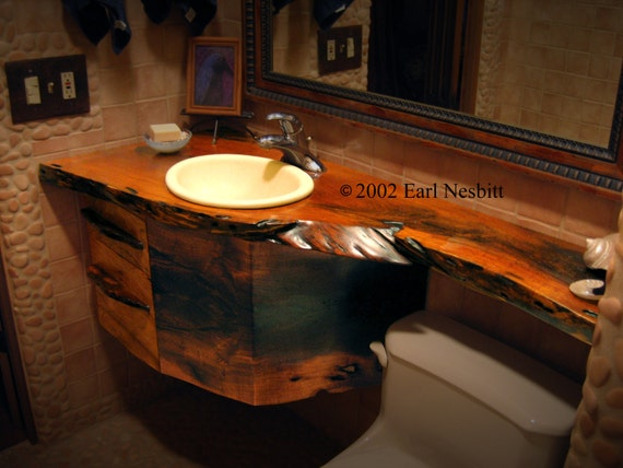 Vanity, countertop and drawers, solid mesquite