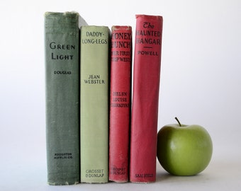Book Decor, Red & Green, Vintage Fiction, Group of 4 from Diz Has Neat Stuff