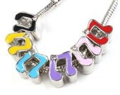 MUSiC - MUSiCAL Notes with Clear CZ - Choice of Color Enamel - Silver Plated Charm Bead - fits European Bracelets - MER-2608