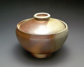 Wood Fired Lidded Bowl with Warm Grays, Browns, and Red Orange Shino Liner