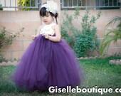 Flower girl dress. Plum with Ivory Flower.Eggplant dress.wedding,clothing,rose dress,baby tutu dress, toddler tutu dress, wedding, birthday,