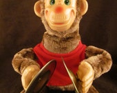 Vintage 80s working JOLLY chimp toy cymbals Christmas stuffed animal