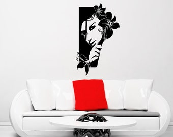 Woman with Flowers wall decal