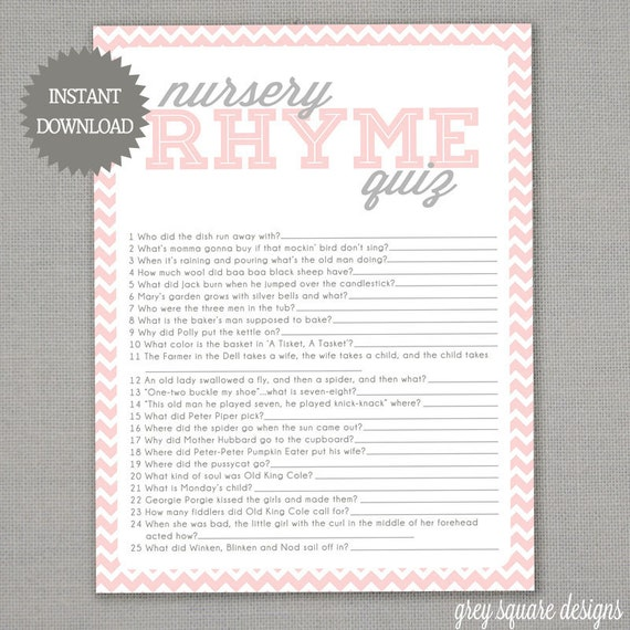 Gray Pink Nursery: Nursery Rhyme Quiz Baby Shower Game Pink Chevron