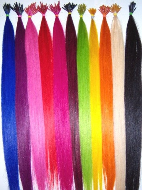 ... colored hair extensions \/\/ 100% Real Hair \/\/ 10 I-Tip Extensions