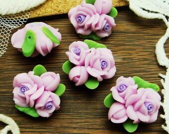 4 pcs  Beautiful Fimo Rose Flower 18 mm,Purple  (WP10-15)