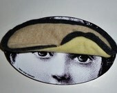 Eyemask recycled CASHMERE or sleep mask - beige & soft yellow/green with gray trim