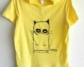 grumpy cat yellow tshirt  womens