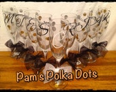 5 Personalized WEDDING CHAMPAGNE FLUTES Bride Bridesmaid with Initial Bridal Party Role & Polka Dots