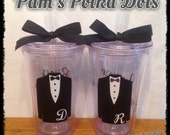 Custom RING BEARER TUMBLER with Tuxedo Initial & Bowtie Junior Groomsman Groom Usher wedding gift