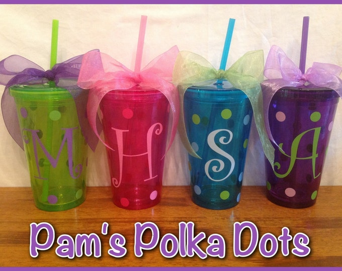 Personalized COLORED ACRYLIC TUMBLERS with monogram initial name in Purple, Grey, Green, Orange, Magenta, Aqua, Red or Clear