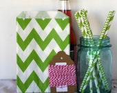 GREEN chevron party bags, treat, bitty, gift, party favor, Christmas bags, party supplies,candy buffet, wedding candy bags,sweet shop