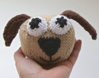 Knitted Toy Puppy stuffed animal, amigurumi, handmade knitting