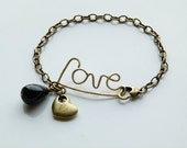 Love brass wire wrapped bracelet with brass chain, onyx drop and brass plated heart