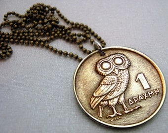 Owl Coin Jewelry - Vintage OWL of Athena COIN NECKLACE - 1973 Greek coin - phoenix necklace - bronze coin - mens necklace