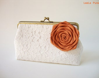 Bridal Accessories / WEDDING Lace Clutch / Fall Wedding / Barn inspired / woodland flower/ Rustic Fall Wedding Ideas