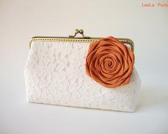 Bridal Accessories / WEDDING Lace Clutch / Fall Wedding / Barn inspired / woodland flower/ Rustic Fall Wedding Ideas