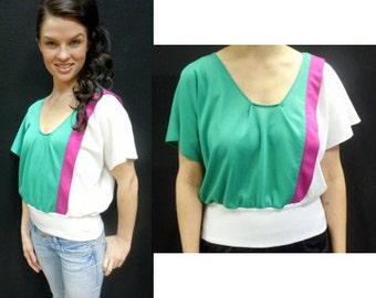 1980s Blouse MultiColor Crop Top / Upcycled Blouse / ColorBlock Top / 1980s Crop Top / Size S-M