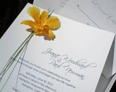 Real Orchid Flower Couture Boxed Wedding Invitations: The Kate Package (butterscotch yellow)