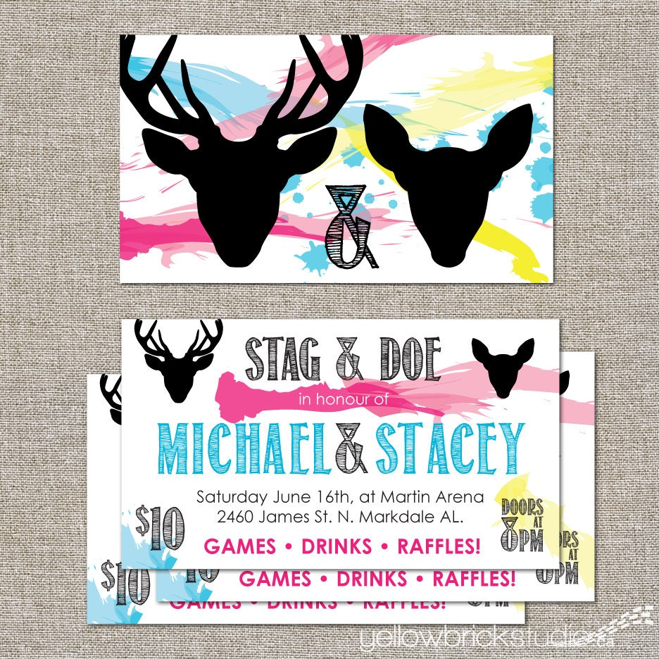Stag And Doe Tickets Painterly 250 Double Sided Tickets