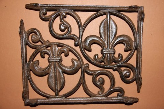ON SALE 6, Shelf Brackets, Fleur De Lis, Cast Iron Shelf