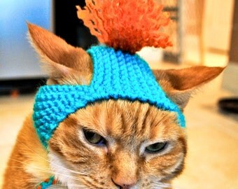 Cat Party Hat - Teal and Orange - Hand Knit Cat Costume
