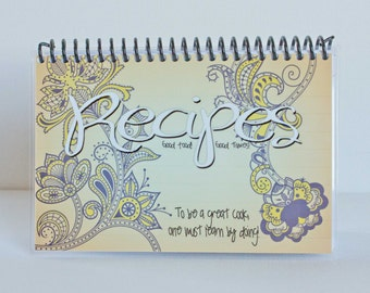 Paisley Recipe Book, Blank Laminated Journal, 4x6 Blue and Yellow Floral on Orange Background White Pages Ready To Ship