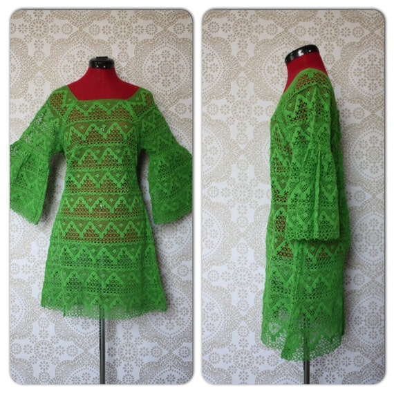 Vintage 1960's 1970's Lime Green Crochet Lace Mini Dress with Bell Sleeves M/L