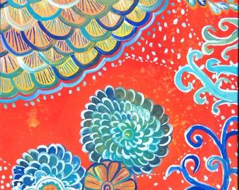 Tangerine Dream Original Acrylic Painting 24x18x.5