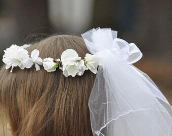Wedding Flowers, Silk White Sweet Pea and Hydrangea double veil flower girl wreath by Holly's Flower Shoppe.