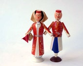 Hand painted wooden dolls, hand carved figurines in Armenian Costumes