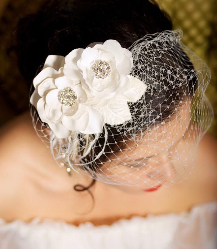 Ivory Flower Hair Clip Wedding: Ivory Bridal Headpiece Birdcage Veil Wedding Flower Hair Clips