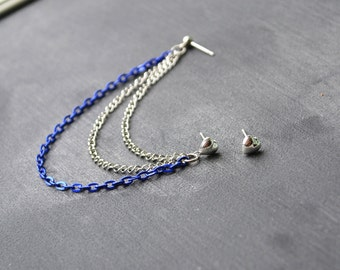 Silver and Dark Blue Heart Cartilage Earrings (Pair)