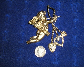 Vintage Cupid Angel Brooch With Rhinestones Dangling Heart Charms 1980's Jewelry 995
