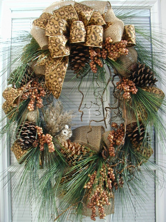 Winter Fall After Christmas Woodsy Pine Cones Squirrel Country