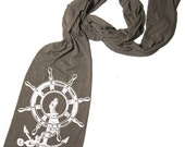 Scarf ANCHOR Ship Wheel Unisex Tri-Blend American Apparel Scarf (4 Color Options)