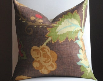 Ready to Ship-Beautiful  FLORAL Decorative Pillow Cover-18x18-LINEN-Throw Pillow-Accent Pillow-Khantau Tree-Mahogany