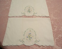 Cottage  Chic Towels  Embroidered Guest Towels Pair Dainty