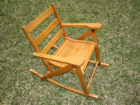 Vintage Childs Wood Folding Rocking Chair By Nevco