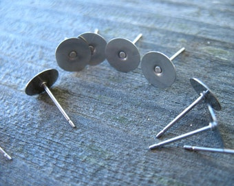 10 pairs Titanium Earring Posts with 8mm Flat Pad