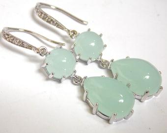 Mint Earrings, Glass Earrings, Aqua Earrings, Light Green Earrings, Silver, Bridesmaid Earrings, Bridal Earrings, Bridesmaid Gift
