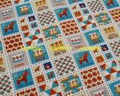 """L375  - Cotton Linen Fabric - Block - Flower /Apple /Horse  - 27"""" x 19""""(70 x 50cm)"""