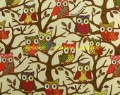 "W246B  - Vinyl Waterproof Fabric - Owls on the tree - Beige -  27""x19""(70cmX50cm)"